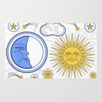 sun and moon Area & Throw Rugs featuring Vintage Sun and Moon by Petya Hadjieva (ragerabbit)