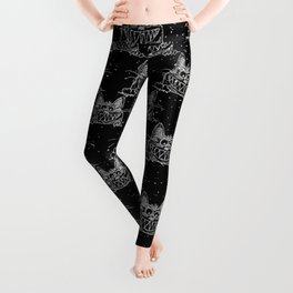 Crazy Kitten in Winter Snow on Black- Animals-Mix and Match with Simplicity of Life Leggings