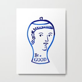 Be good ceramic vase, blue and white printable wall art, minimalist wall art print, instant download Metal Print