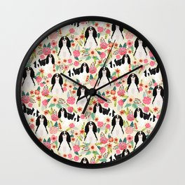 Cavalier King Charles Spaniel floral flowers dog breed pattern dogs Wall Clock