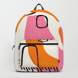 Vintage Abstract Mid Century Modern Playful Pink Yellow Ochre Organic Shapes Backpack