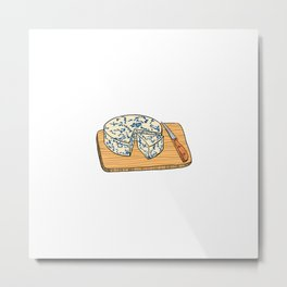 Illustration of Blue cheese on a cutting board Metal Print