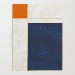 Orange, Blue And White With Golden Lines Abstract Painting Poster