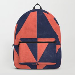 Geometric Triangle Pattern - Coral, Blue Backpack