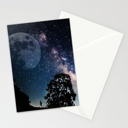 Starry skies and rising moon Stationery Cards
