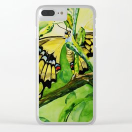 Lime Tree Butterfly II Clear iPhone Case