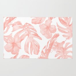 Tropical Palm Leaves Hibiscus Flowers Coral Pink Rug