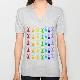Hermine -Ermine-armino 13 Colorfull. Rainbow! Unisex V-Neck