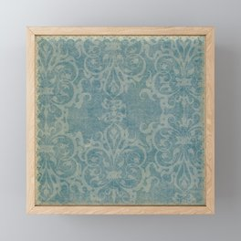 Antique rustic teal damask fabric Framed Mini Art Print