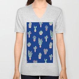 Little cactus pattern - Princess Blue Unisex V-Neck