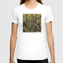 Midnight Black Marble with Gold Glitter Veins T-shirt