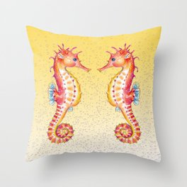 Seahorses Yellow Bubble Throw Pillow