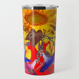 Morning Glories, Sunflowers Red Abstract Travel Mug