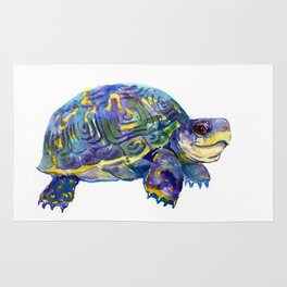 Turtle children artwork illustration blue purple teal animal art Rug