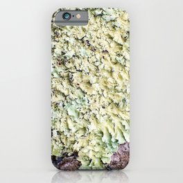 Beautiful messthetics bright green lichen on tree trunk bark macro iPhone Case