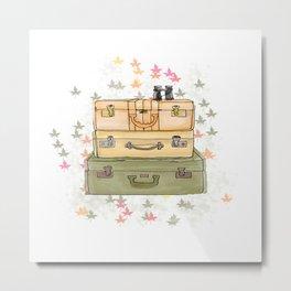 Digital art of vintage luggage set.  Metal Print