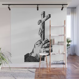 Vintage Illustration, Cross in Hands Wall Mural
