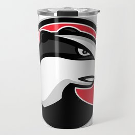 Badger Head Circle Mascot Travel Mug