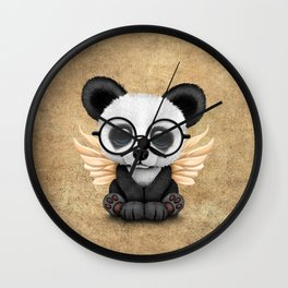 Cute Panda Cub with Fairy Wings and Glasses Wall Clock