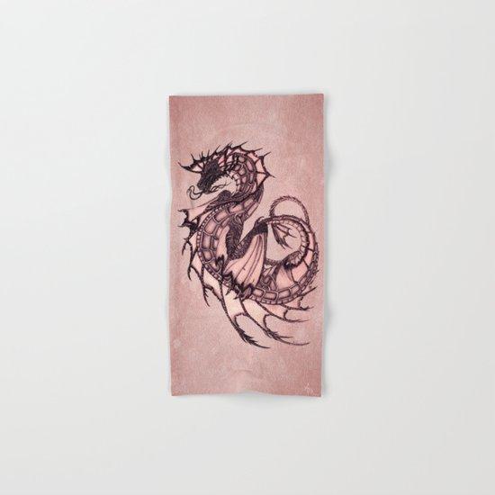 """Tsunami"" by Amber Marine ~ Sea Dragon (Coral Version) ~ Graphite & Charcoal Illustration, (c) 2005 Hand & Bath Towel"