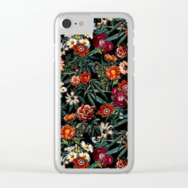 Marijuana and Floral Pattern Clear iPhone Case
