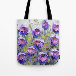 Purple and Pink Roses, Palette Knife Painting in Oil Tote Bag