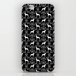 Boxer florals silhouette black and white floral pattern dog portrait dog breeds boxers iPhone Skin