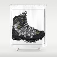 shoe Shower Curtains featuring Shoe 1 by AstridJN