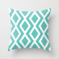 Aqua Diamond Throw Pillow