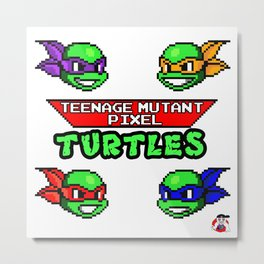 Teenage Mutant Pixel Turtles Metal Print