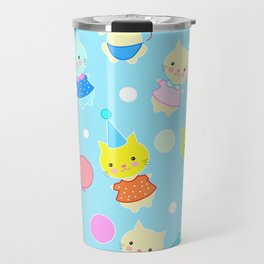 Seamless pattern of cats in different costumes in children`s style Travel Mug