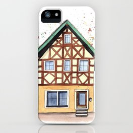 Half-timbered whimsical house in watercolors iPhone Case
