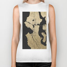 Seattle Black and Gold Street Map Biker Tank