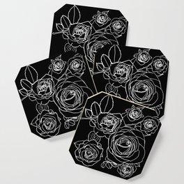 Feminine and Romantic Rose Pattern Line Work Illustration on Black Coaster