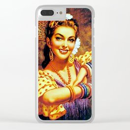 Jesus Helguera Painting of a Mexican Calendar Girl with Bangles Clear iPhone Case