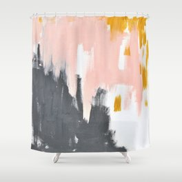 Gray and pink abstract Shower Curtain