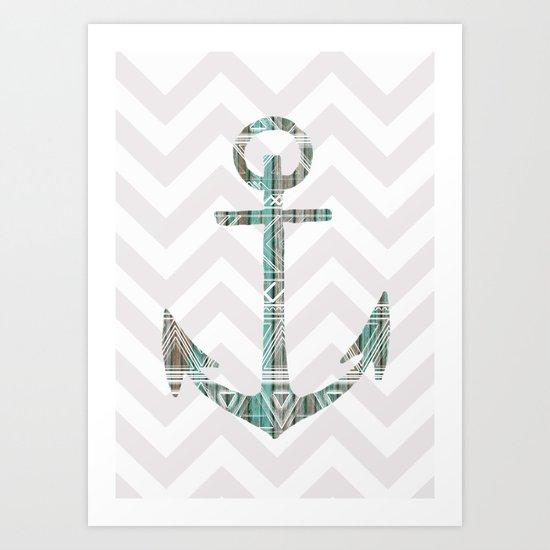 Tribal Anchor and Chevron  Art Print