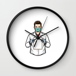 Doctor Holding Clipboard Illustration Wall Clock