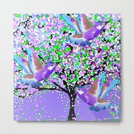BIRDS OF SPRING PURPLE OIL PAINTING Metal Print