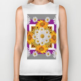 GREY & WHITE DAISIES FLORAL ABSTRACT & YELLOW SUNFLOWERS Biker Tank