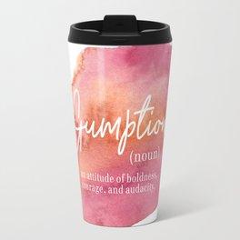Gumption Definition - Word Nerd - Pink Watercolor Travel Mug
