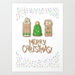 Merry Christmas Poster with Gingerbread Houses and Fir Tree Art Print