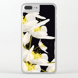 White Flowers On A Black Background #decor #buyart #society6 Clear iPhone Case