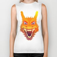 charizard Biker Tanks featuring Flaming Dragon by Head Glitch