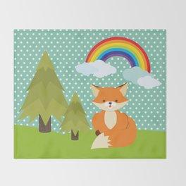 Fox, Rainbow , nursery decor , children gift, birthday gift Throw Blanket
