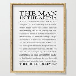 The Man in the Arena, Daring Greatly Quote by Theodore Roosevelt Serving Tray