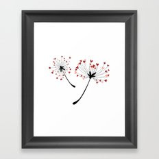 Floating Dandelion Heart Seeds by Cam Fam Creations Framed Art Print