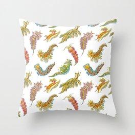 Ernst Haeckel Nudibranch Sea Slugs Tossed Throw Pillow