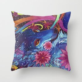 Neon coyote Throw Pillow