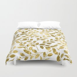 Gold Leaves on White Duvet Cover